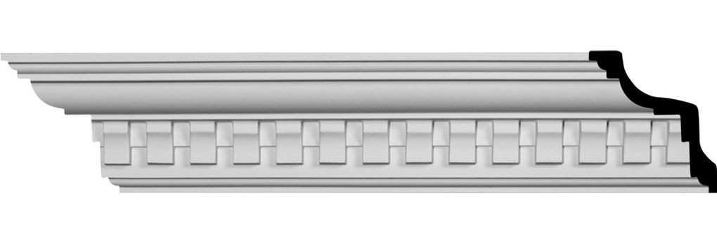"4 1/4""H x 3 7/8""P x 5 3/4""F x 94 1/2""L Bulwark Dentil Crown Moulding"