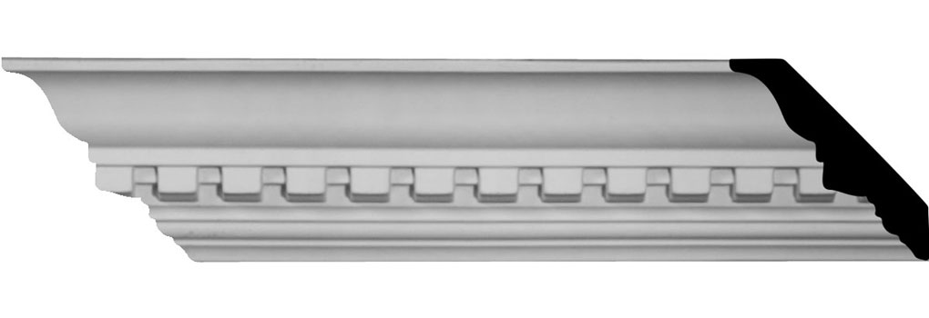 "3""H x 2 3/4""P x 4""F x 94 1/2""L Dentil Crown Moulding"