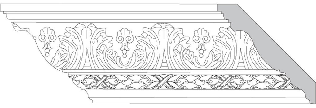 "4 3/4""H x 4 3/4""P x 6 1/2""F Acanthus Leaf & Shell with Leaf & Berry w/Ribbon (Sold in Random Lengths Per Foot)"