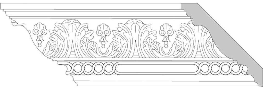 "4 3/4""H x 4 3/4""P x 6 1/2""F Acanthus Leaf & Shell with Celtic Ring (Sold in Random Lengths Per Foot)"