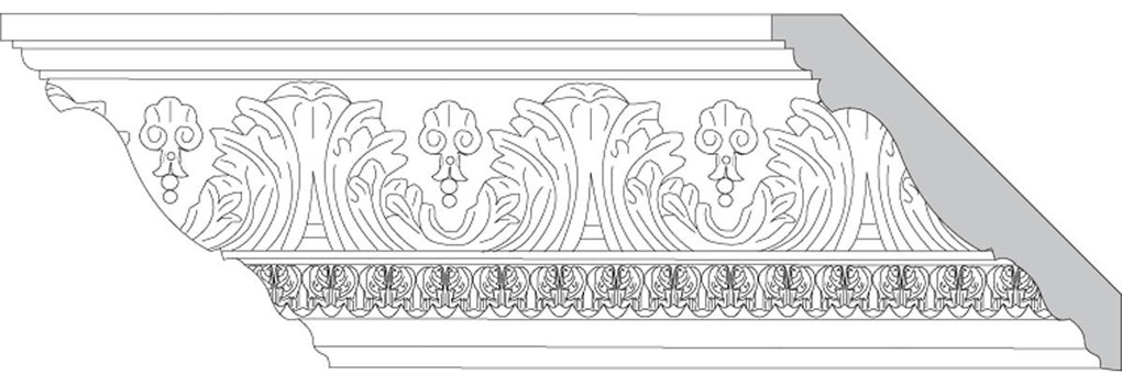 "4 3/4""H x 4 3/4""P x 6 1/2""F Acanthus Leaf & Shell with Acanthus Leaf (Sold in Random Lengths Per Foot)"