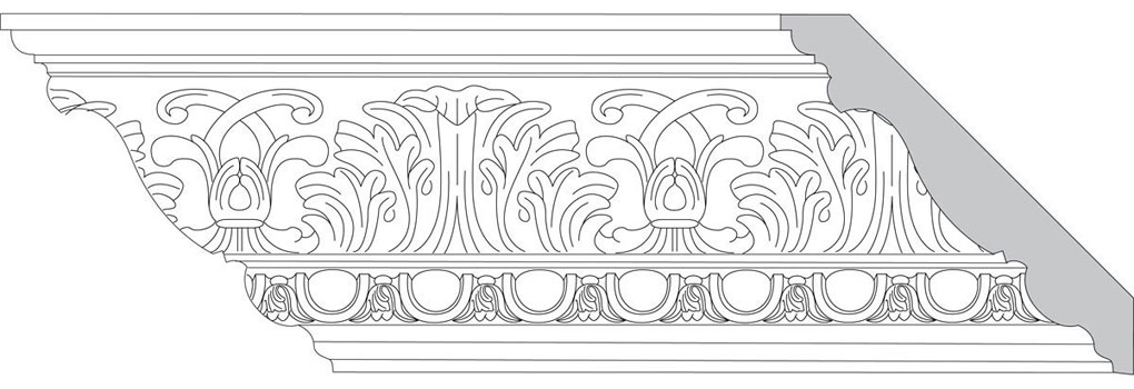 "4 3/4""H x 4 3/4""P x 6 1/2""F Acanthus Leaf & Scroll with Egg & Feather (Sold in Random Lengths Per Foot)"
