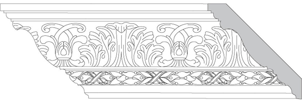 "4 3/4""H x 4 3/4""P x 6 1/2""F Acanthus Leaf & Scroll with Leaf & Berry w/Ribbon (Sold in Random Lengths Per Foot)"