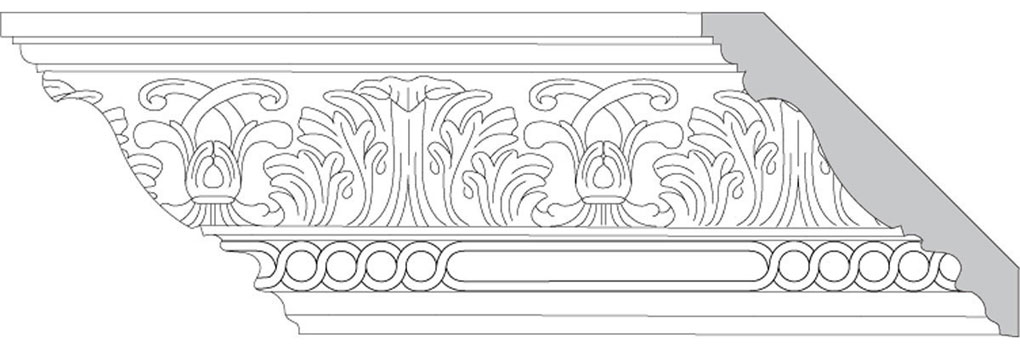 "4 3/4""H x 4 3/4""P x 6 1/2""F Acanthus Leaf & Scroll with Celtic Ring (Sold in Random Lengths Per Foot)"