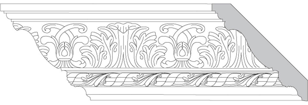 "4 3/4""H x 4 3/4""P x 6 1/2""F Acanthus Leaf & Scroll with Leaf & Twist (Sold in Random Lengths Per Foot)"