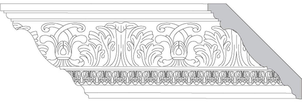 "4 3/4""H x 4 3/4""P x 6 1/2""F Acanthus Leaf & Scroll with Acanthus Leaf (Sold in Random Lengths Per Foot)"