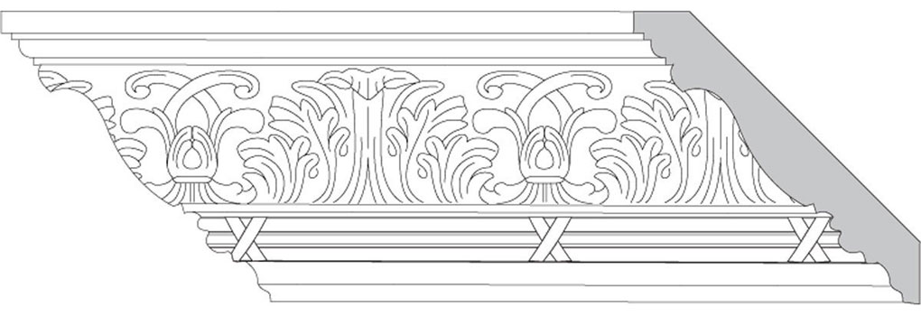 "4 3/4""H x 4 3/4""P x 6 1/2""F Acanthus Leaf & Scroll with Bamboo Bundle (Sold in Random Lengths Per Foot)"