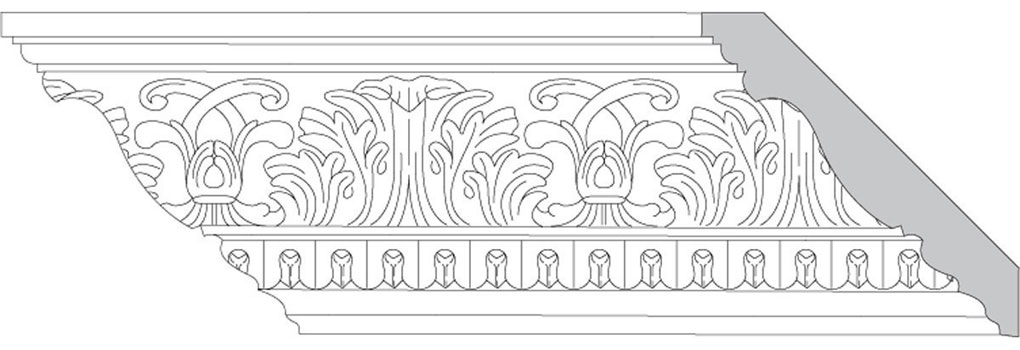 "4 3/4""H x 4 3/4""P x 6 1/2""F Acanthus Leaf & Scroll with Lamb's Tongue (Sold in Random Lengths Per Foot)"
