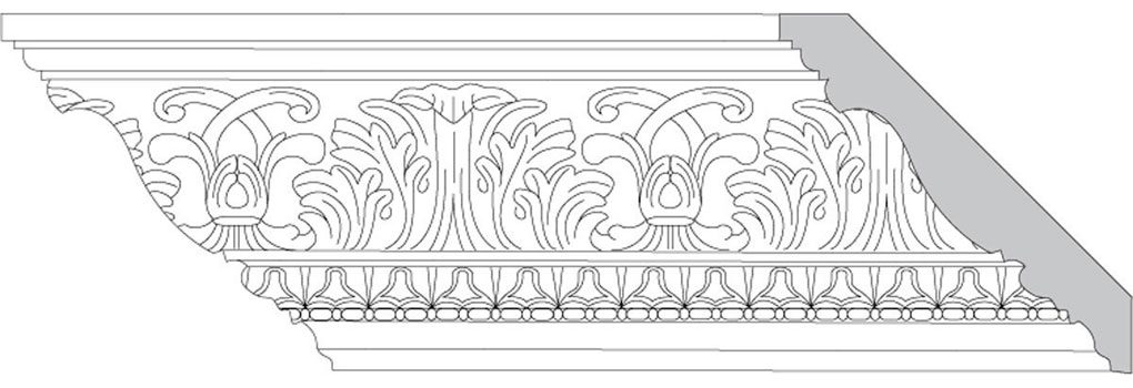 "4 3/4""H x 4 3/4""P x 6 1/2""F Acanthus Leaf & Scroll with Lamb's Tongue & Bean & Barrel (Sold in Random Lengths Per Foot)"