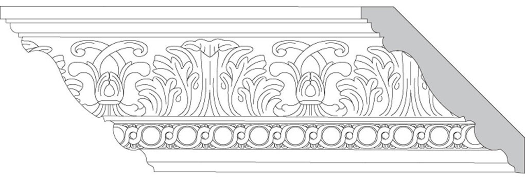 "4 3/4""H x 4 3/4""P x 6 1/2""F Acanthus Leaf & Scroll with Revolving Sinuosity (Sold in Random Lengths Per Foot)"