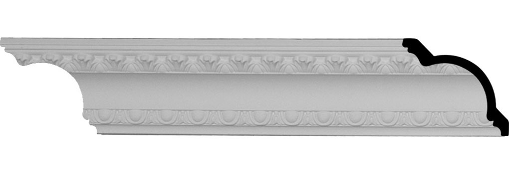 "3""H x 2 3/4""P x 4 1/8""F x 95 7/8""L, (1 3/8"" Repeat), Egg and Dart Crown Moulding"