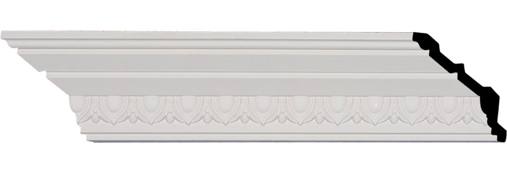 "3 1/2""H x 3 1/4""P x 4 3/4""F x 94 1/2""L, (1 1/2"" Repeat), Egg and Dart Crown Moulding"