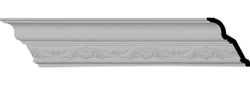 "3 1/2""H x 3 3/8""P x 4 7/8""F x 94 1/2""L, (5 3/8"" Repeat), Dauphine Crown Moulding"