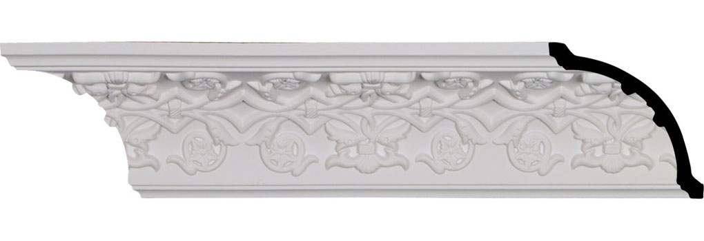 "3 1/2""H x 3 1/2""P x 5""F x 94 1/2""L, (6 3/8"" Repeat), Rose Crown Moulding"