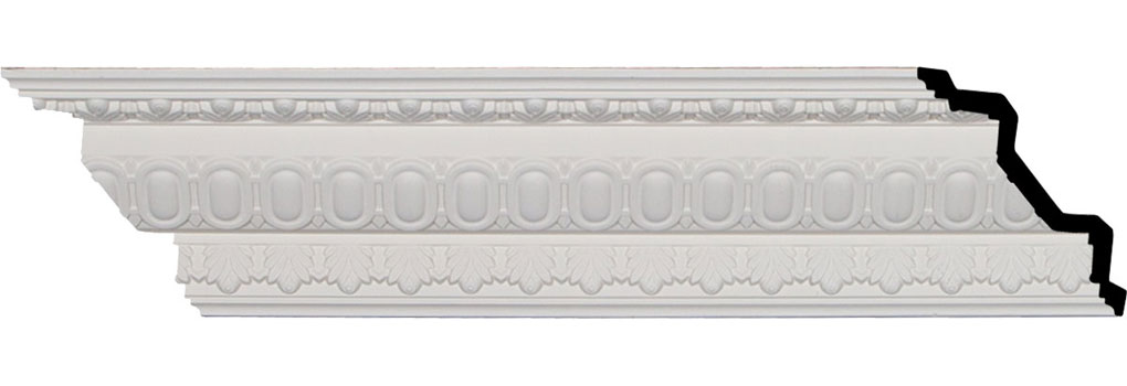 "4""H x 4""P x 5 3/4""F x 95 7/8""L, (1 1/4"" Repeat), Egg and Dart Crown Moulding"
