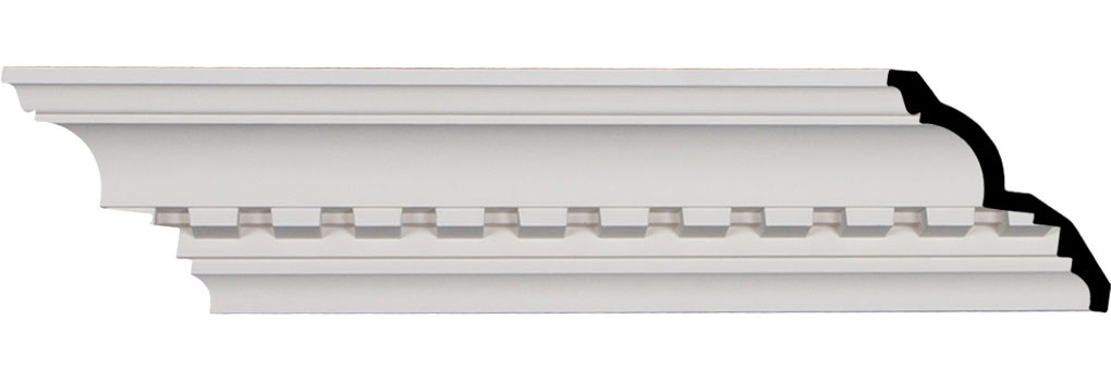 "4 3/4""H x 4 1/8""P x 6 3/8""F x 95 7/8""L, (1 5/8"" Repeat), Dentil Crown Moulding"