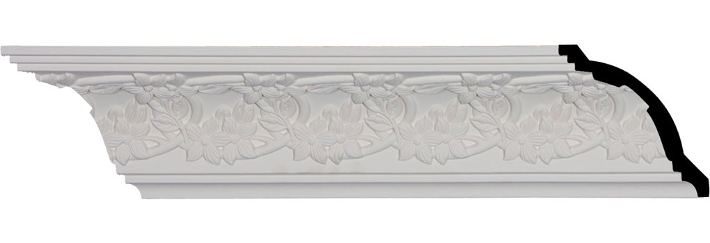 "4 3/4""H x 4 1/2""P x 6 5/8""F x 96 1/4""L, (3 7/8"" Repeat), Floral Crown Moulding"