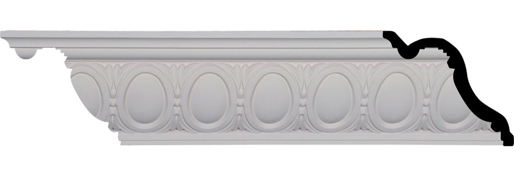 "5 1/8""H x 6""P x 7 7/8""F x 96 1/8""L, (3 3/8"" Repeat), Egg and Dart Crown Moulding"
