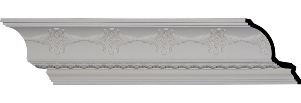"""6 1/4""""H x 7""""P x 9 3/8""""F x 96 1/8""""L, (6 1/2"""" Repeat), Egg and Dart Crown Moulding"""