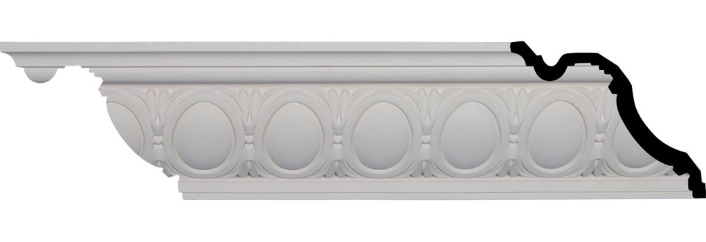 """6 3/4""""H x 7 3/4""""P x 10 1/4""""F x 95 7/8""""L, (4 3/8"""" Repeat), Egg and Dart Crown Moulding"""
