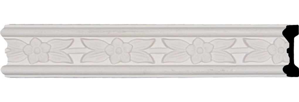 "1 7/8""H x 5/8""P x 94 1/2""L, (2 5/8"" Repeat), Flower Chair Rail"