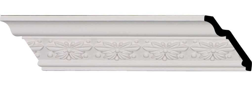 """2 1/2""""H x 2 1/2""""P x 3 5/8""""F x 96 1/8""""L, (2 1/2"""" Repeat), Butterfly Crown Moulding"""