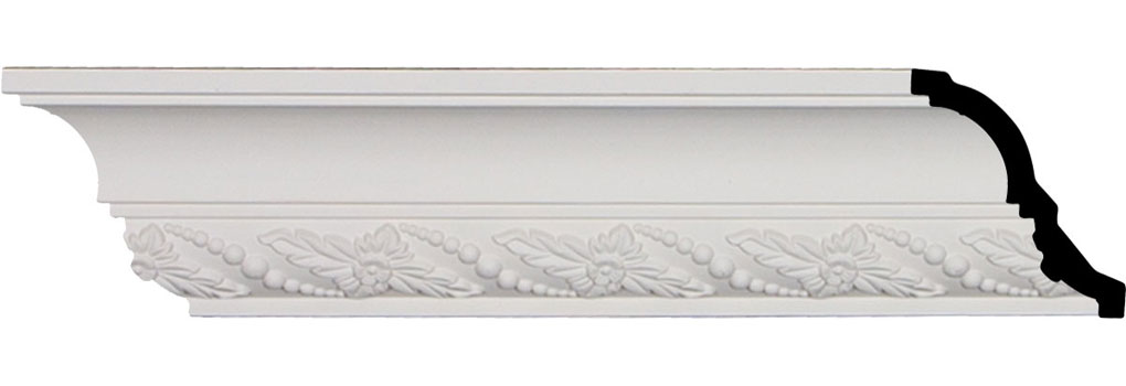 "3 1/4""H x 2 7/8""P x 4 3/8""F x 94 1/2""L, (3 1/4"" Repeat), Leaf Twist Crown Moulding"