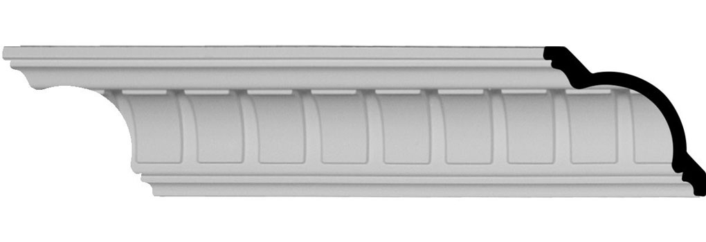 "3 1/2""H x 3 1/2""P x 4 3/4""F x 94 1/2""L, (1 5/8"" Repeat), Cove Dentil Crown Moulding"