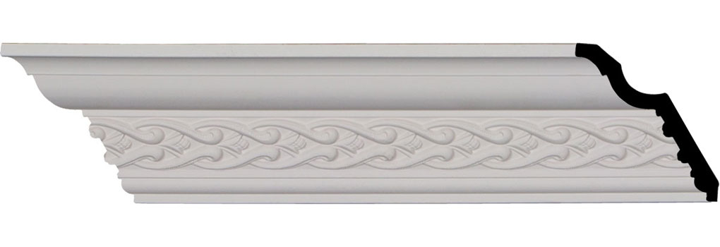 "3 1/2""H x 3 5/8""P x 5 1/8""F x 94 1/2""L, (1 3/8"" Repeat), Landon Crown Moulding"