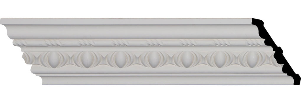 "3 3/4""H x 3 7/8""P x 5 3/8""F x 94 1/4""L, (2 3/8"" Repeat), Jackson Egg and Dart Crown Moulding"