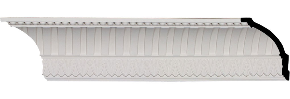 "4 3/4""H x 4 1/4""P x 6 1/8""F x 95 7/8""L, (1 1/8"" Repeat), Cove Dentil with Bead Crown Moulding"