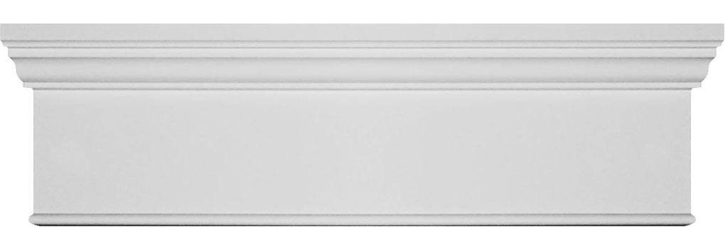 "CRHM07X96BT 7 1/4""H x 94 1/2""W  x 2 3/4"" Top Projection x 1"" Bottom Projection Traditional Fascia Header, w/ Bottom Trim"
