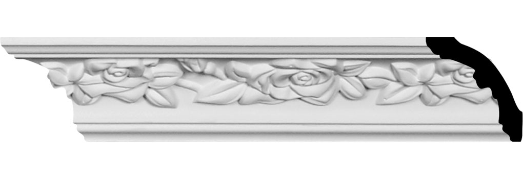 "1 7/8""H x 2""P x 2 7/8""F x 94 1/2""L Running Rose Crown Moulding"