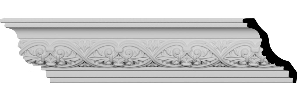 "4 3/8""H x 3 3/4""P x 5 7/8""F x 94 1/2""L Dublin Leaves Crown Moulding"