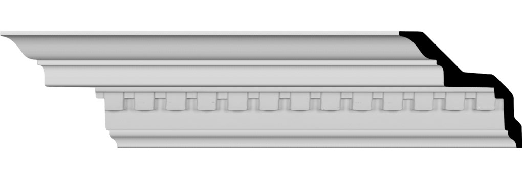 "6 3/4""H x 4 3/4""P x 8 3/8""F x 94 1/2""L Dentil Crown Moulding"