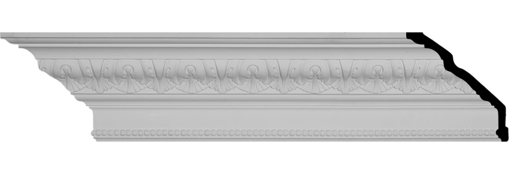 "6 5/8""H x 5 1/8""P x 8 1/2""F x 94 1/2""L Palmetto Beaded Crown Moulding"