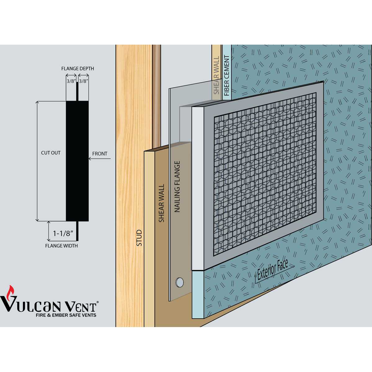 3 1/2-Inch H x 22-Inch W (41 Sq  In  Venting Area) Vulcan Fire Stopping  Eave/Soffit Vent 3/8-Inch Recessed Flange for Fiber Cement, Galvanized Steel