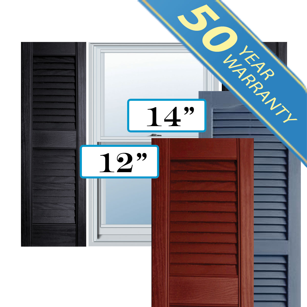 Exterior Shutters: Alpha Systems LLC PVL Premium Vinyl Open Louver Window Shutt